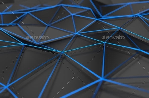 Abstract 3D Rendering Of Low Poly Black Surface - 3D Backgrounds
