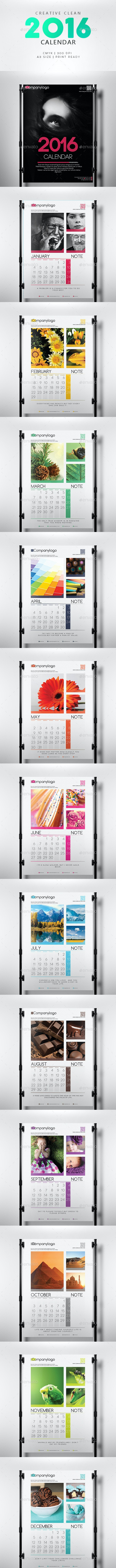 Clean 2016 Calendar - Calendars Stationery