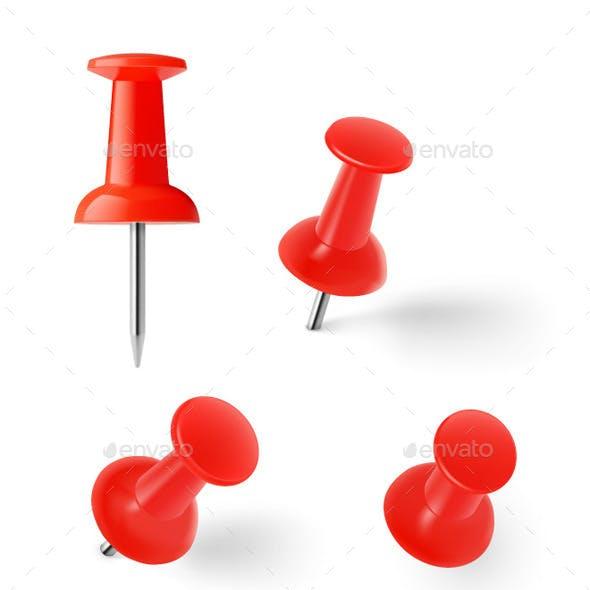 Set of Colorful Push Pins