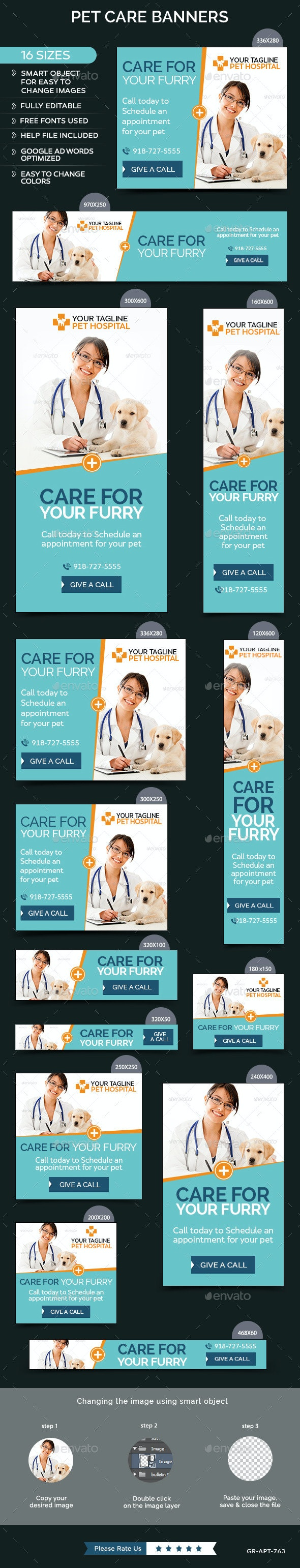 Pet Care Banners - Banners & Ads Web Elements