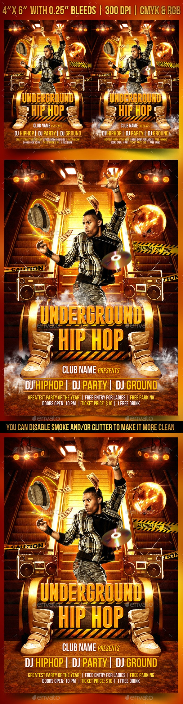 Underground Hip Hop Flyer Template - Clubs & Parties Events