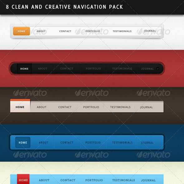 8 Clean and Creative Navigation Pack