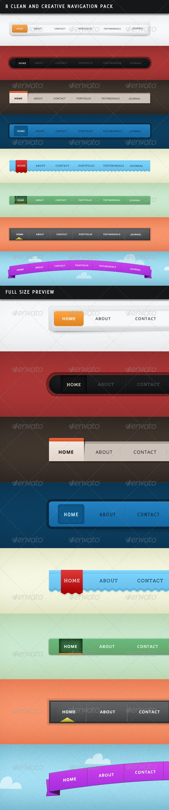 8 Clean and Creative Navigation Pack - Navigation Bars Web Elements
