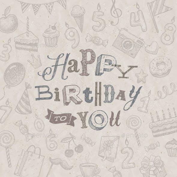 Hand Drawn Happy Birthday Greeting Card