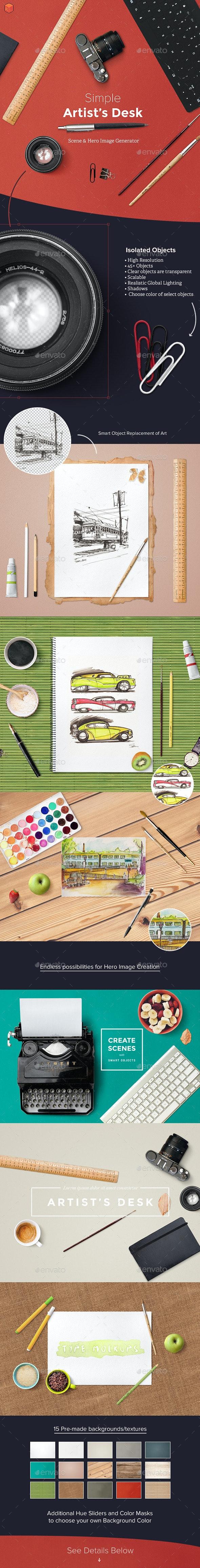 Artist's Desk Scene and Hero Image Generator - Hero Images Graphics