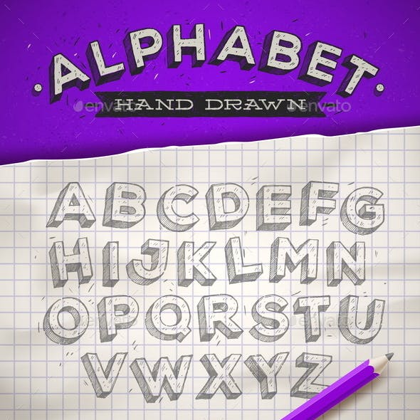Hand Drawn Sketch Font on a School Notebook Paper