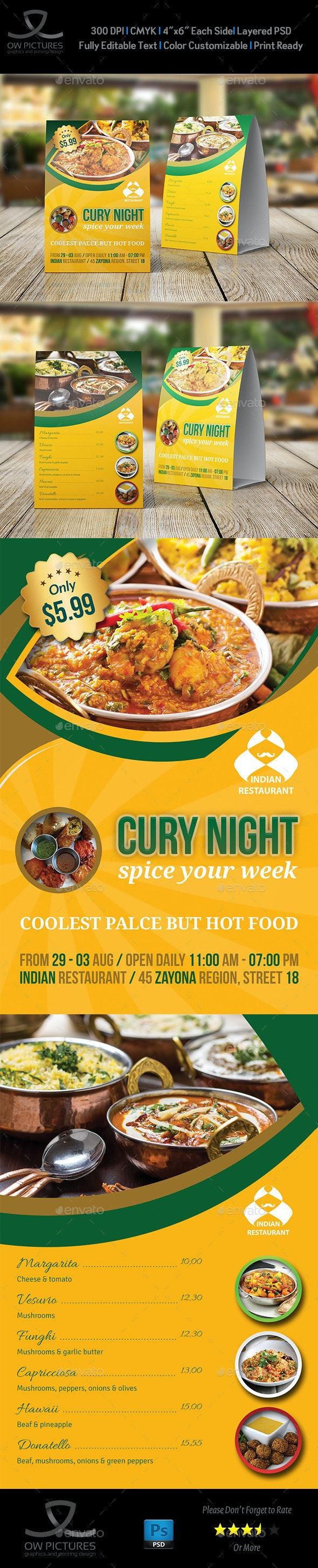 Indian Restaurant Table Tent Template - Food Menus Print Templates