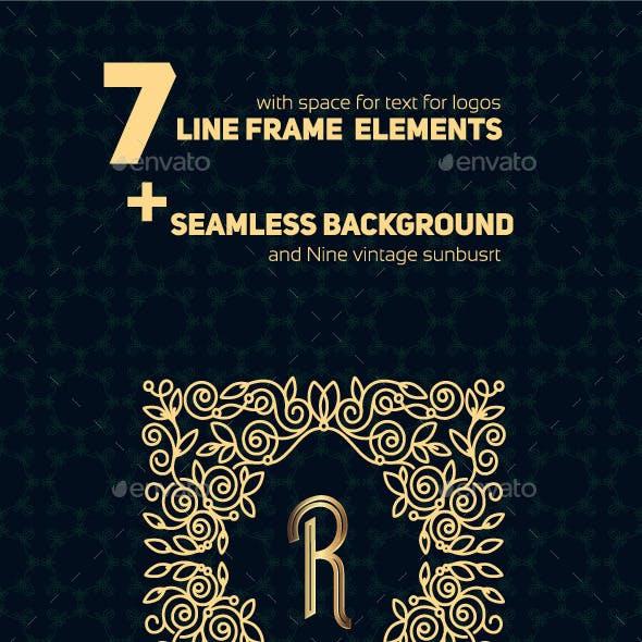 Line Frame Design Elements and Sunbusrt