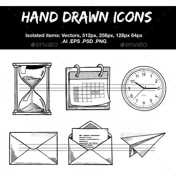 Hand drawn icons, paperwork and time