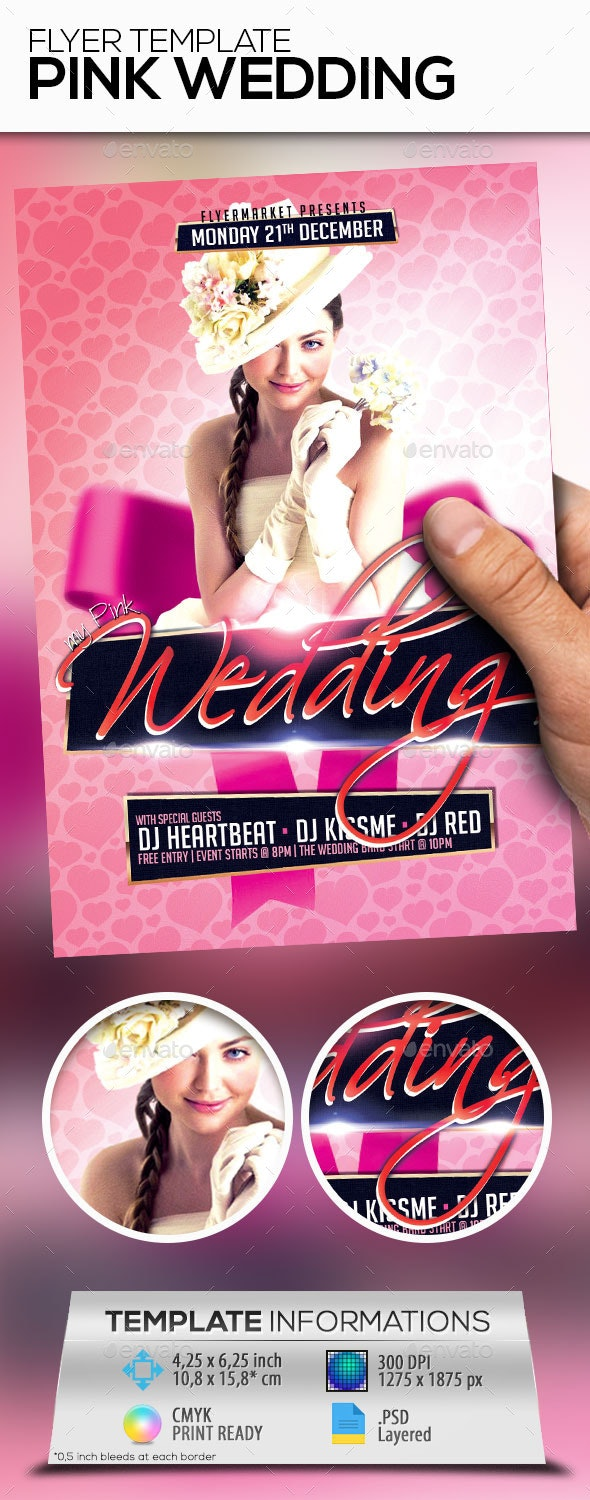 Pink Wedding Flyer Template - Events Flyers