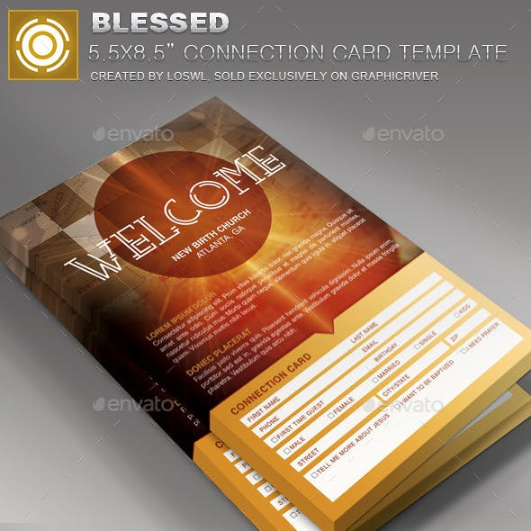 Blessed Church Connection Card Template