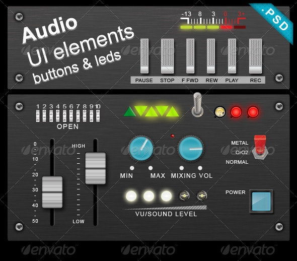 Audio buttons & leds - User Interfaces Web Elements