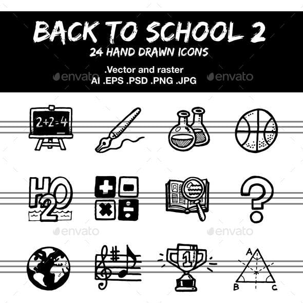 School and Education, hand drawn Icons