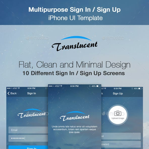 Translucent - Sign In / Sign Up iPhone UI Template