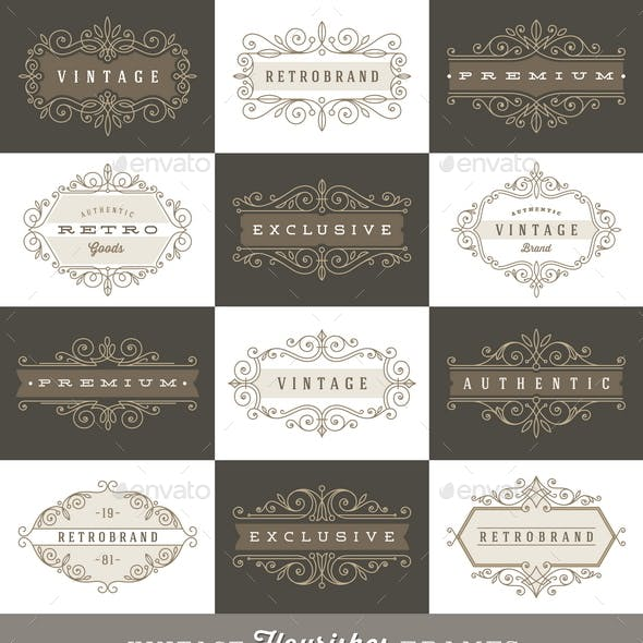 Set of Vintage Logo Flourishes Frames