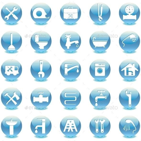 Plumbing Icons Flat Design - Web Technology