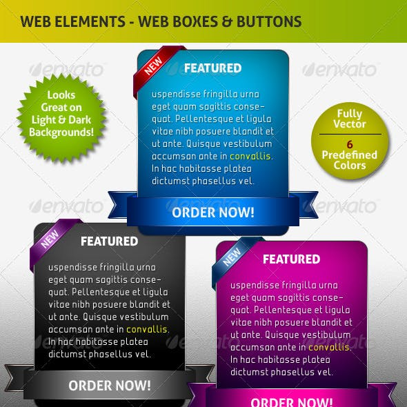 Stylish Web / Info / Featured Boxes and Buttons