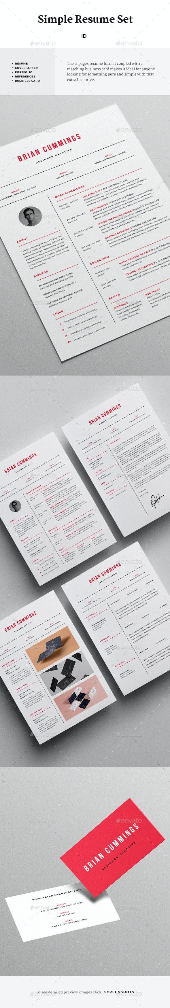 Simple Resume Set - Resumes Stationery