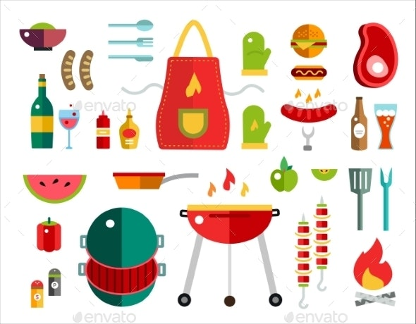 Barbecue and Food Icons  - Food Objects