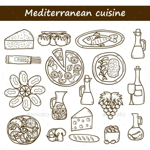 Set of Hand Drawn Cartoon Food Objects - Food Objects