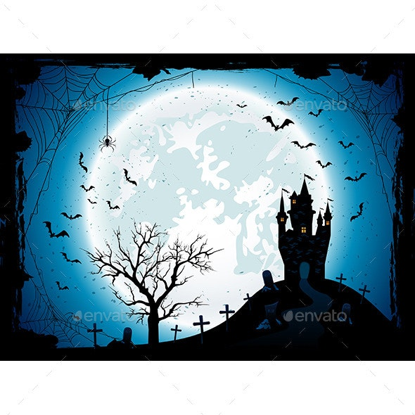 Halloween Background with Castle and Spider - Halloween Seasons/Holidays