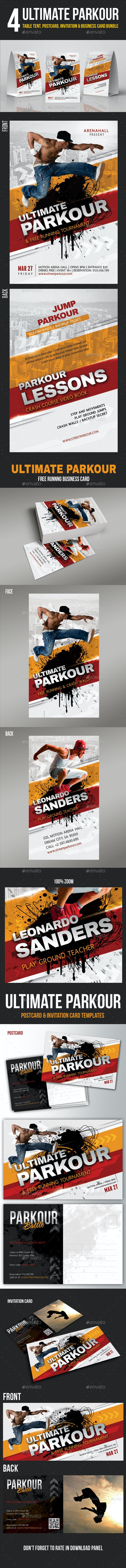 Ultimate Parkour Business Card Postcard Table Tent - Cards & Invites Print Templates