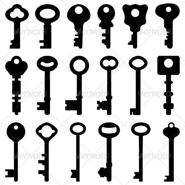 Black Silhouette Antique Old Key