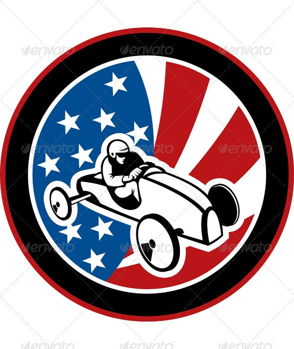 Soap Box Derby Race Car American Flag - Sports/Activity Conceptual