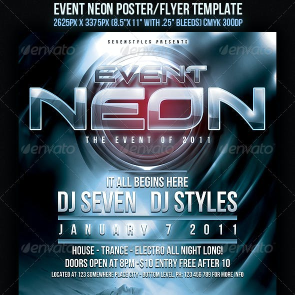 Event Neon Flyer/Poster Template