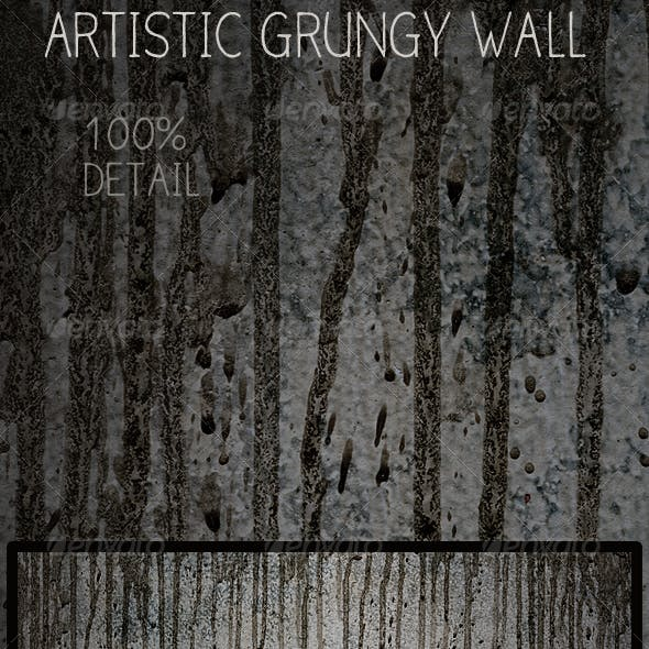 Grunge Wall with Textured Drips Running Down