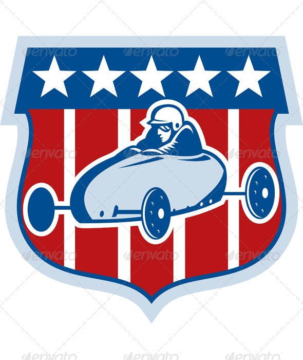 Soap Box Derby Race Car American Flag - Sports/Activity Conceptual