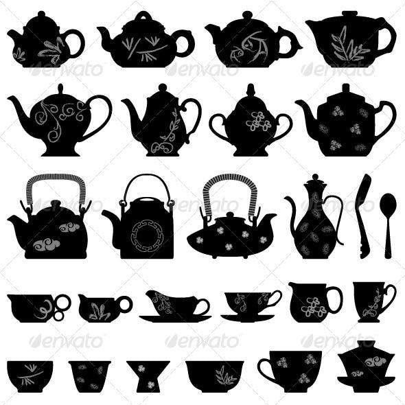 Tea Teapot Cup in Asian Oriental Design