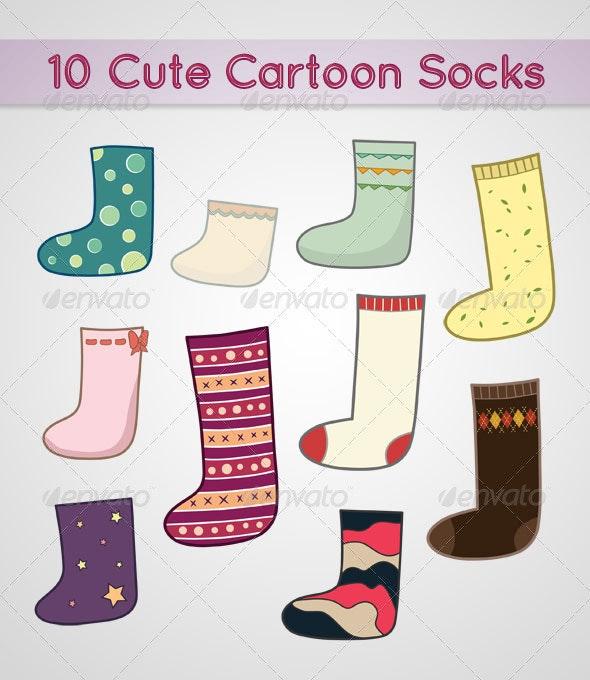 10 Cute Cartoon Socks - Objects Vectors