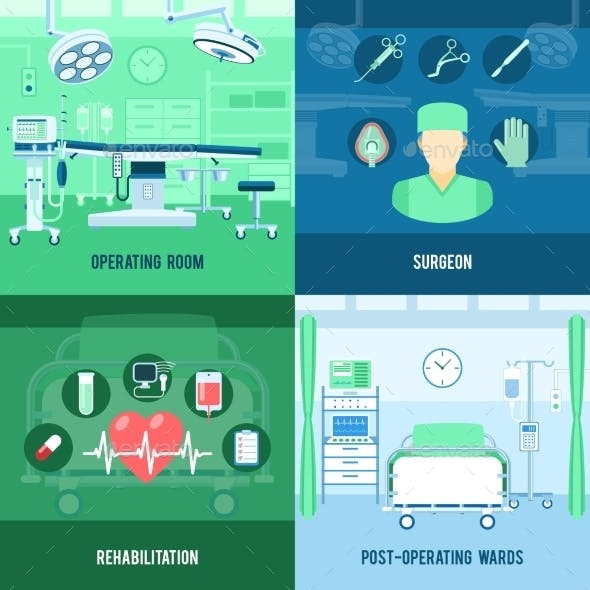 Surgery 4 Flat Square Icons Banners