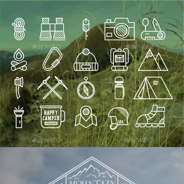 Outdoor Badge and Icons Set