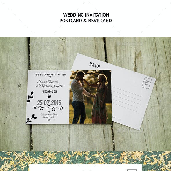 Wedding Invitation Postcard and RSVP Card