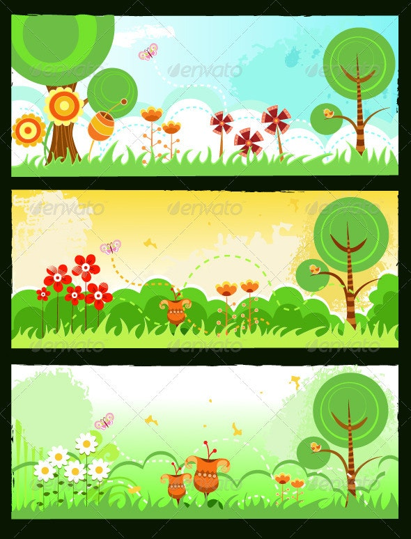 Spring Banners - Characters Vectors