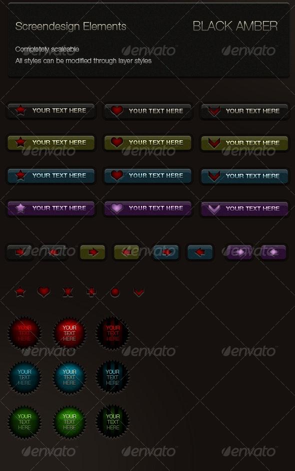 Black Amber Set - Buttons Web Elements