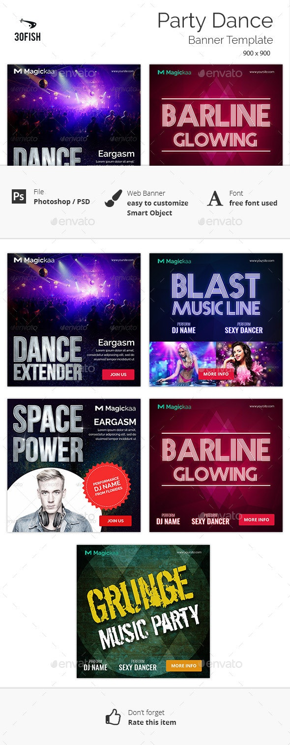 Party Dance Banner - Banners & Ads Web Elements