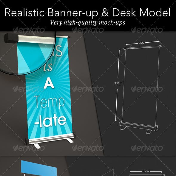 Banner Up & Desk Mock-up