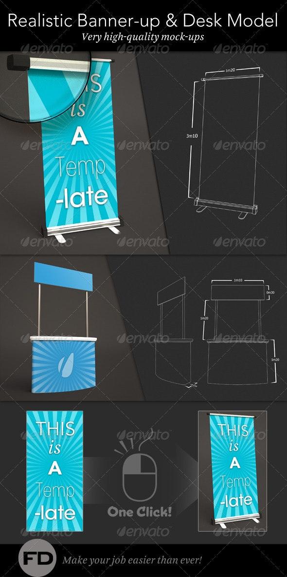 Banner Up & Desk Mock-up - Signage Print