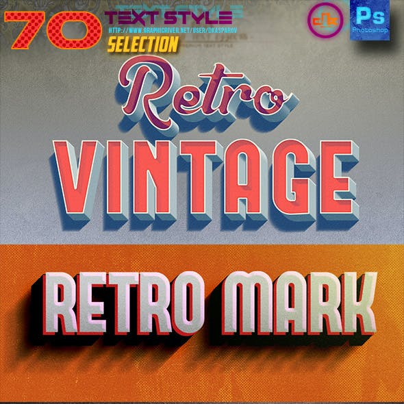 70 Text Style Retro, Movie & 3D Bundle Selection