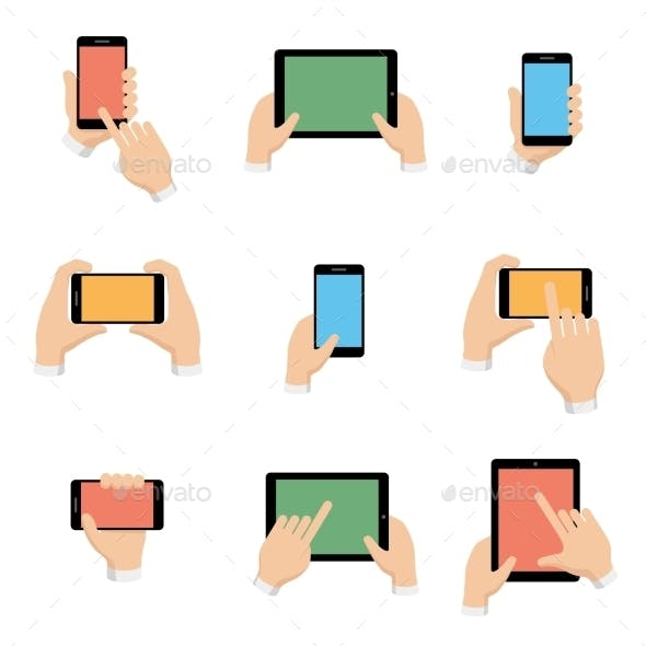 Set of Smartphone and Tablet in Hands