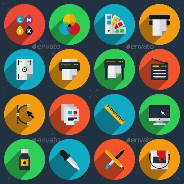 Flat Color Printing Icons