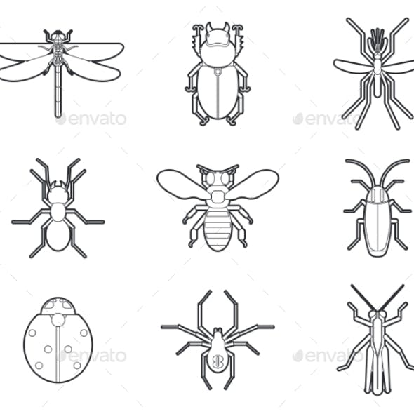 Insects Mono Line Icons Set