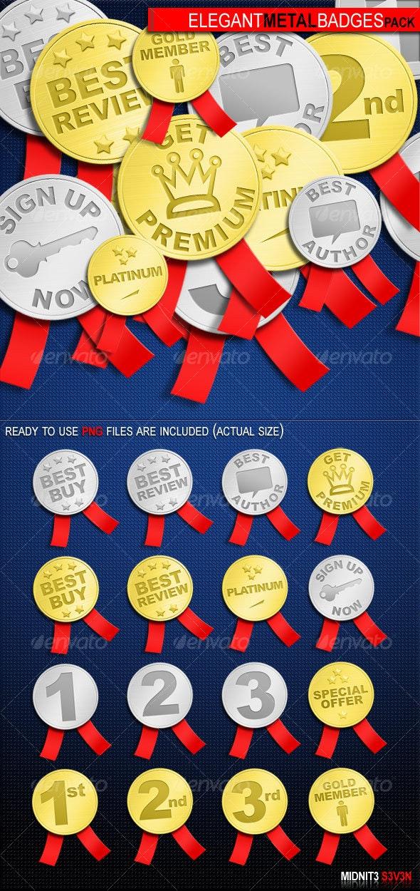 Elegant Metal Badges Pack #1 - Miscellaneous Web Elements