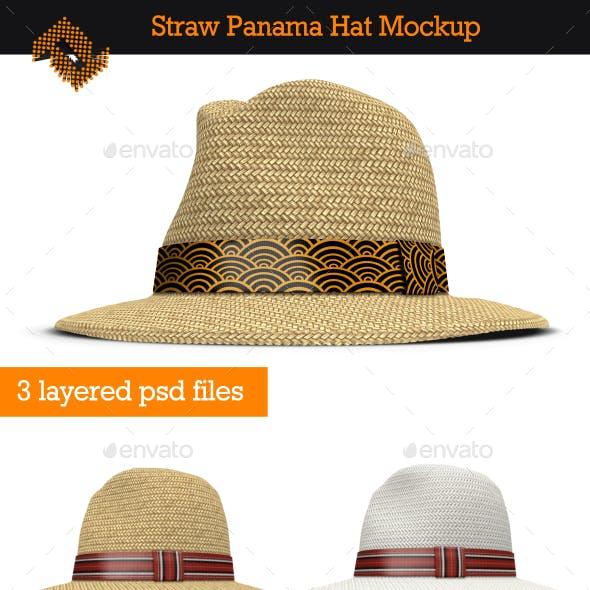 Straw Panama Hat Mockup