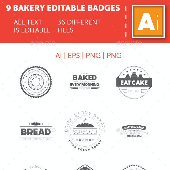 9 Bakery Badges Template with Fully Editable Text