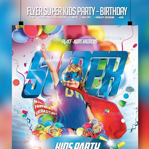 Flyer Super Kids Party - Birthday