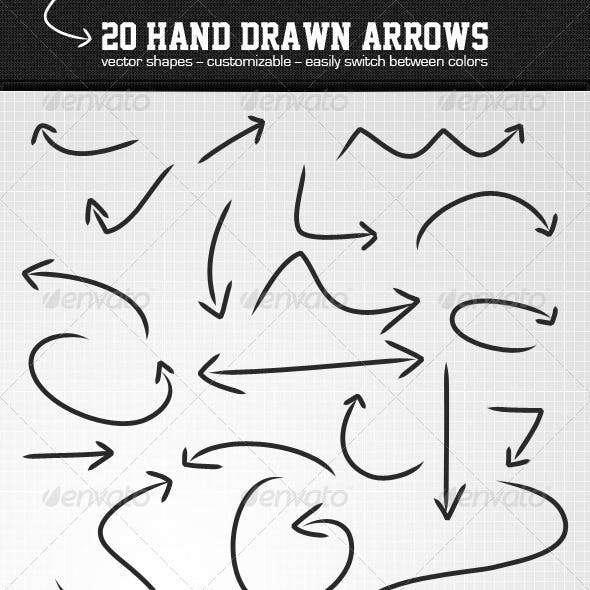20 Hand Drawn Arrows